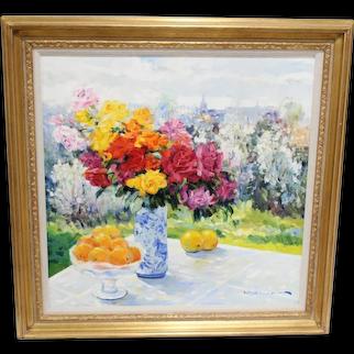 Omar Malva Hamdi Syrian Artist Oil on Canvas Original Still Life Vase Oranges