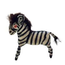 Small Shackman Zebra with Real Fur Mane and Tail