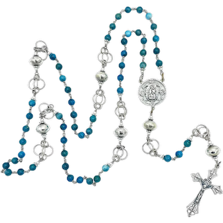 Natural apatite & Sterling Silver handmade Southwestern beads wire-wrapped heirloom Catholic rosary