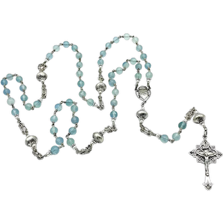 Blue Fluorite & Sterling Silver handmade Southwestern beads wire-wrapped heirloom Sacred Heart Catholic rosary