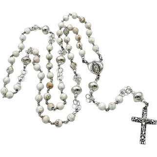 Howlite & Handmade Southwestern beads sterling silver wire-wrapped Catholic rosary