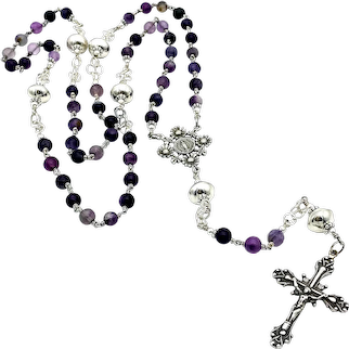Purple Fluorite & Sterling Silver handmade Southwestern beads wire-wrapped Catholic rosary