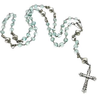 Green glass & handmade sterling silver Southwestern beads wire-wrapped Catholic rosary