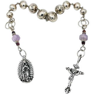 Sterling silver rosary tenner with amethyst