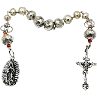 Sterling silver rosary tenner with handmade Southwestern beads