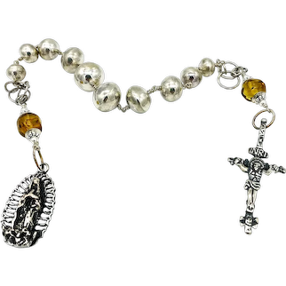 Sterling silver rosary tenner with Mexican Amber