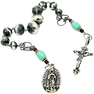 Sterling silver rosary tenner with handmade Southwestern beads and turquoise