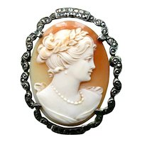 Antique Victorian Edwardian Cameo Brooch c 1900, Exceptionally Fine Italian Carving, Signed Carnelian Shell, 800 Silver Marcasite Border. Free 3 Day DHL Worldwide Shipping