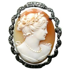 Antique Edwardian Cameo Brooch, 800 Silver Marcasite Border, Signed Carnelian Shell, Exceptionally Fine Carving and Great Condition
