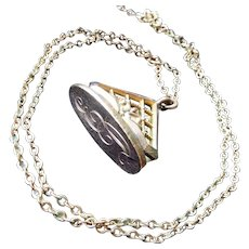 Antique Victorian Watch Fob Necklace, 24K Rose Gold Filled (Rolled Gold), Engraved with the Initial Letters E D, Great Condition