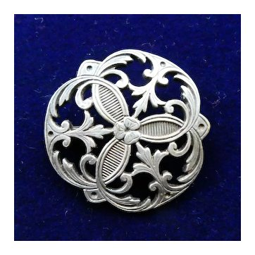 Antique Silver Brooch, Edwardian Aesthetic Style c 1900, Tests as Sterling, Great Condition.