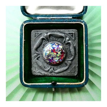 Antique Arts and Crafts Brooch, Victorian / Edwardian c 1900, Set with Foil Opal Harlequin Glass, in Good Working Order.