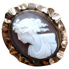 Antique Victorian Cameo Swivel Brooch Pin with Picture Locket on the Reverse. Finely Carved Bacchante Shell Cameo.