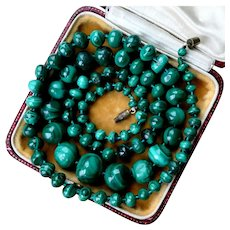 Large 81g Art Deco Malachite Necklace, 1930s Hand Carved Graduated Beads. Beautiful Natural Textures! FREE 3 Day DHL Shipping Worldwide