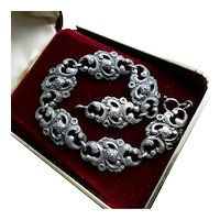Edwardian Art Nouveau Silver Bracelet with Antique Repousse Floral Links