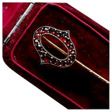 Antique Victorian Initial Letter O Natural Garnet Stick Pin, Tie, Cravat, Lapel, 24K Gold Filled