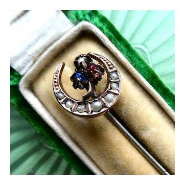 Antique Victorian Honeymoon Stick Pin (Hat, Lapel, Cravat, Tie), Seed Pearl Crescent Moon & Shamrock Love & Luck Token