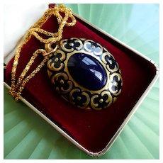 Rare Vintage Art Deco Bavarian Porcelain Medallion Pendant, Cobalt Blue & Gold, Signed Lindner Kueps Bavaria Kunstabtellung Echt Cobalt
