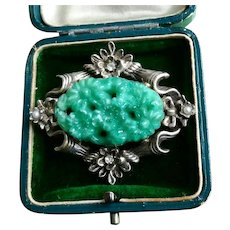 Rare Antique Art Nouveau Victorian Edwardian Silver Brooch, Chinoiserie Peking Glass Faux Jade Pin with Seed Pearls