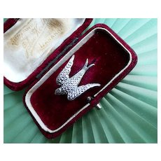 Vintage 1940s War Era Staybrite Swallow Brooch, Faux Marcasite Pin by Charles Horner. Collectible!