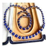 Vintage 1980s Costume Necklace & Bracelet Set, Demi Parure, Egyptian Revival Cleopatra Collar Set With Murano Lapis Lazuli Art Glass Cabochons
