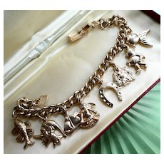 Vintage 1950s Eloxal Charm Bracelet Incl Buddha, Cupid, Pinocchio, Diver & Fish Charms. Fun & Collectible!
