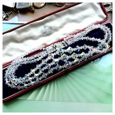 3 Strand 1950s Austrian Crystal Aurora Borealis Necklace, Multistrand Collar With Brilliant AB Rhinestone Clasp