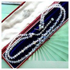 Vintage 1950s Austrian Crystal Aurora Borealis Necklace, Two Strand Collar With Brilliant AB Rhinestone Clasp