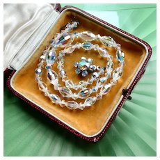Vintage 1950s Aurora Borealis Necklace, Graduated Austrian Crystal w AB Rhinestone Flower Clasp