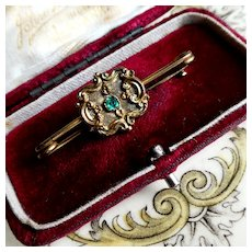 Antique Georgian Stock Pin Brooch, 9 ct Gold Face Emerald Paste Equestrian Safety Pin