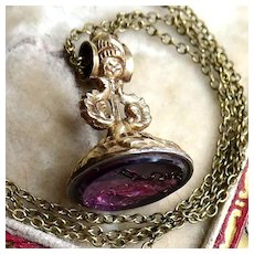 Georgian Victorian Scottish Thistle Fob Seal Pendant Necklace, Amethyst Paste Watch Chain Ornament, Antique Highland Jewelry