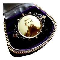 Antique Victorian c1870s Tintype Portrait Brooch Pin, Gold Filled Mourning Button
