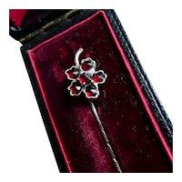 Victorian Natural Bohemian Garnet Stick Tie, Cravat, Lapel Pin, Rose Gold Filled.