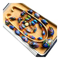 "Art Deco Venetian Murano Millefiori Necklace, 28"" Long Graduated Handmade Lampwork Beads"