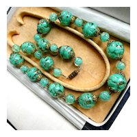 Murano Sommerso Aventurine Bead Necklace, Minty Green Chunky Confetti Lampwork Glass Beads