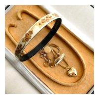 Michaela Frey Austrian Enamel Set: Matching Ring, Bangle Bracelet & Heart Locket Pendant Necklace, All Pristine