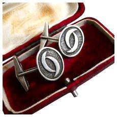1970s Ola Gorie Designer Skara Brae Cufflinks Sterling Silver Brutalist Cuff Links signed OMG, Free Shipping