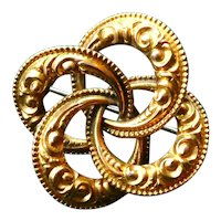 Antique Victorian Love Knot Brooch, 14K Yellow Gold Repousse (Embossed), Great Condition.