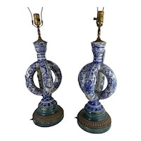 Cobalt Blue Salt Glazed German Double Ring Flask As Lamps