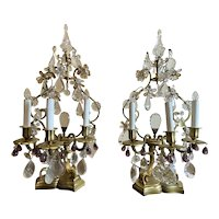 Pair of French Girandoles With Crystals and Amethyst Drops