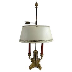 Louis XVi Style Bouillotte Lamp With White Tole Shade