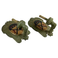 Two Pair Vintage Italian Wood Sconce With Crest