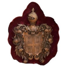 Armorial Carved Wood Crest On Red Velvet
