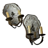 Venetian Mirrored Wall Sconce - A Pair