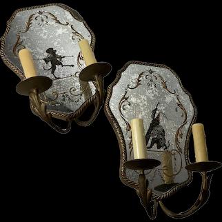 Venetian Mirrored Wall Sconce - A Pair