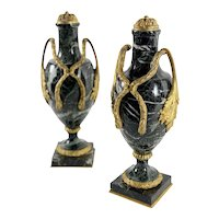Green Marble Urns With Bronze Dore Circa 1860