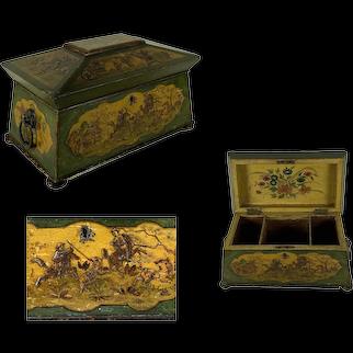 English Regency Style Chinoiserie Tea Caddy