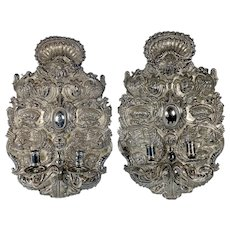 Pair of Hand Tooled Silver Sconce From Peru
