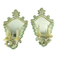 Italian Porcelain Sconces With Faces - A Pair
