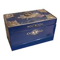 Antique Blue Lacquered Tea Caddy